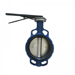 4'' 150LB ductile iron viton lined soft sealed wafer type butterfly valve