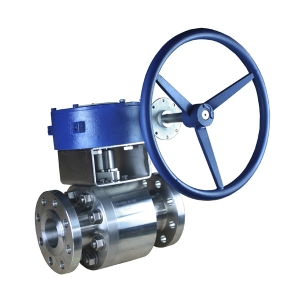 DN80 PN63 A182 F316 metal seated floating RF connection 2 pc Worm gear handle operated ball valve