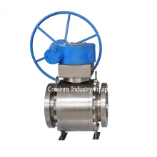 10'' 150LB ASTM B381 F2 ball valve RPTFE seat RF flange full port floating worm gear hand wheel ball