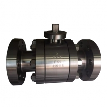2'' 600LB A182 F51 RF flange 3pc full port floating level operated ball valve