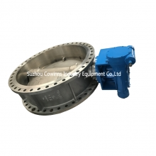 DN1600 PN16 CF8 + EPDM seat double flange worm gear handle wheel butterfly valve