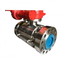 Worm gear operated  6'' 1500LB A182 F51 trunnion mounted full port RF ball valve