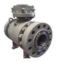 Worm gear operated 8'' 900LB A105 hard face trunnion mounted full port RTJ connection 3 pc ball valve