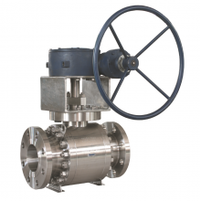 China Worm gear operated with handle wheel DN150 PN63 A182 F316 hard face trunnion mounted full port RF connection 3 pc ball valve factory